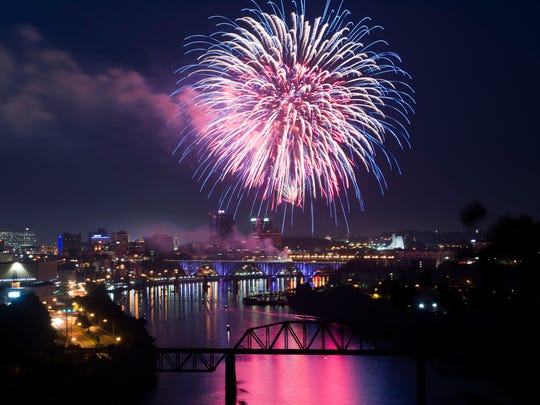 Fireworks bursts over downtown Knoxville during Festival on the Fourth Wednesday, July 4, 2018.