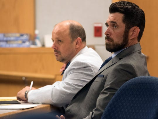 "James Greenwood, right, and his attorney Chris Stevenson listen during a ""stand your ground"" evidentiary hearing before Circuit Judge J. Scott Duncan on Tuesday, June 27, 2017."