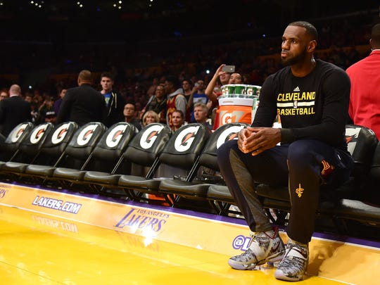 LeBron James, shown here before a game at the Lakers