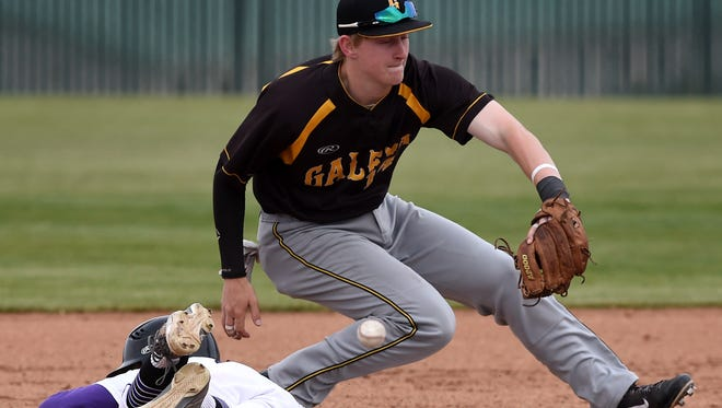 Galena 's Andrew West misses the catch as Galena attempts to pickoff Spanish Spring's Lee Chase at second base in Thursday's game at Spanish Springs.