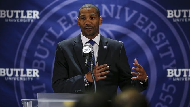 LaVall Jordan speaks to the crowd gathered after being introduced as the Butler menÕs basketball coach at Hinkle Fieldhouse, June 14, 2017.