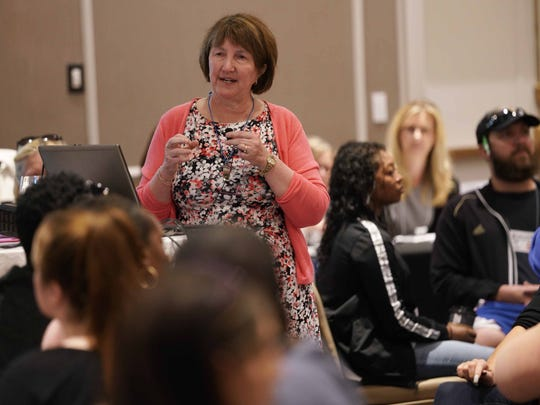 Deb Stevens, director of instructional advocacy for DSEA (The Delaware State Education Association) gives instruction to Red Clay educators from Warner Elementary, Highlands Elementary, and Shortlidge Academy on how to participate in the Poverty Simulation Compassionate Connections training sessions.