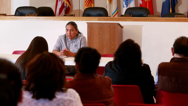 Gary Mike speaks during a press conference on Thursday at the San Juan Chapter house in Lower Fruitland.