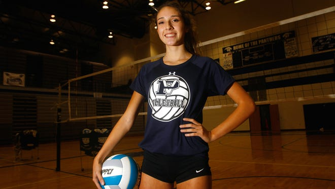 Piedra Vista's Bebe Jaquez poses for a portrait on Sept. 12 at the Jerry A. Conner Fieldhouse in Farmington.