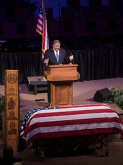 Gerald Edmondson gives a tribute to former state Sen. Greg Evers on Tuesday, Aug. 29, 2017, at First Baptist Church of Milton.