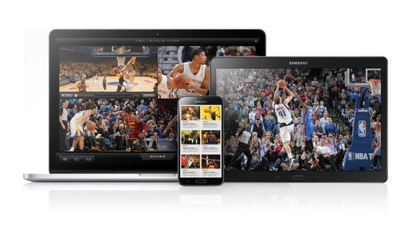 NBA League Pass on a computer, phone and tablet.