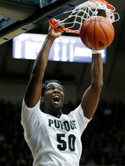 Caleb Swanigan with a second half dunk against New