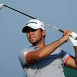 Jason Day tees off on the 8th hole during Saturday's third round of the PGA Championship at Whistling Straits.