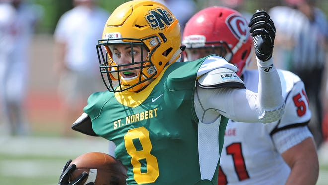 St. Norbert College defensive back Frank Laterza was named the Midwest Conference North Division skills defensive player of the year on Wednesday. The Green Knights had 15 players earn All-MWC North Division honors.