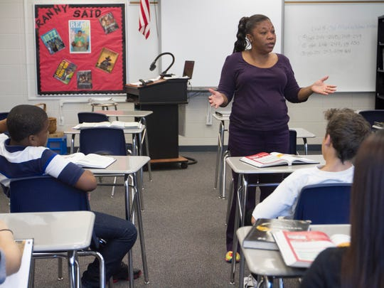 Cherie Williams teaches in her language arts class