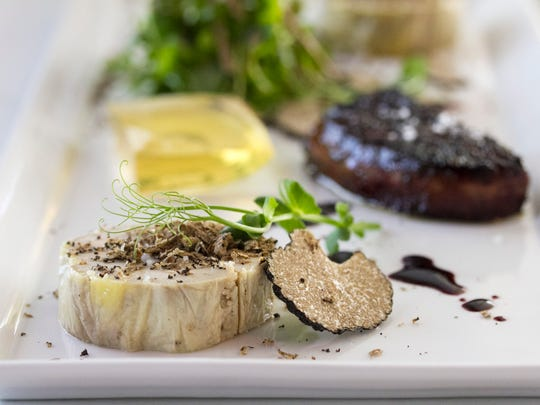 A duet of foie gras with freshly shaved black truffles from Azure in south Fort Myers