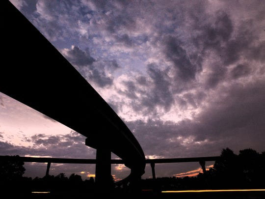 Twilight at the construction site of the outer loop in I-85 east of Montgomery, Ala. on Friday August 1, 2014.