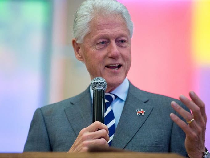 Former President Bill Clinton speaks about his wife