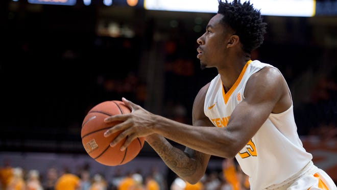 Tennessee's Jordan Bowden on a three-point attempt against Appalachian State at Thompson-Boling Arena on Nov. 15, 2016.