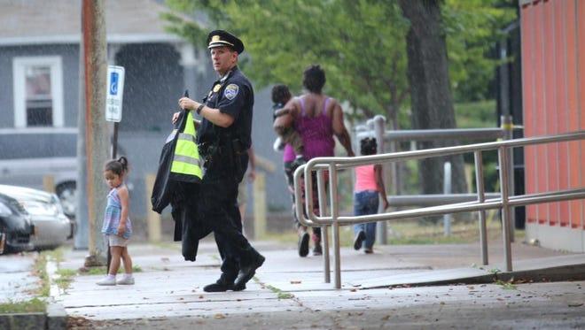 Police at David Gantt Community Center on Monday.