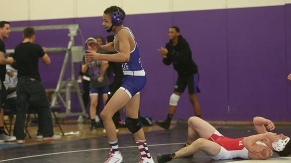 Jordan Wallace celebrates a win in New Rochelle and