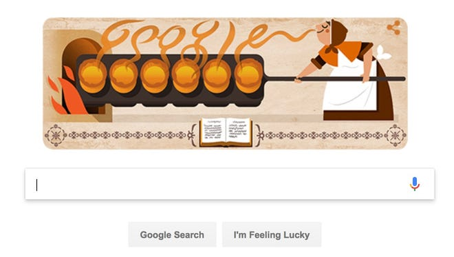 A Google Doodle in honor of English cook Hannah Glasse.