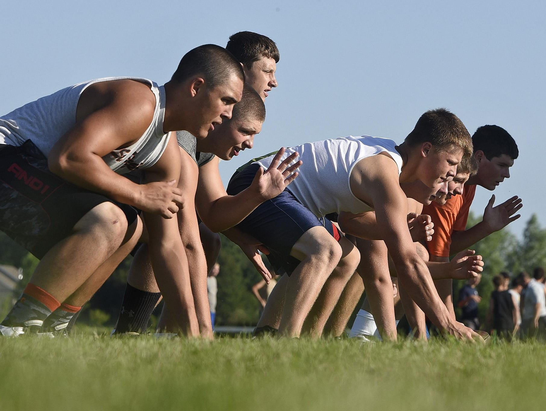 Holdingford players line up while doing walk-throughs Wednesday in Holdingford.