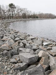 The edge of the Brick Township MUA reservoir in March