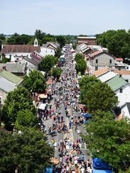 An aerial shot of the 2017 Historic Old Annville Days street fair.