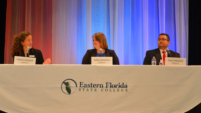 Wednesday night District 5 school board forum at the Eastern Florida State College Cocoa Campus. Left to right: Katye Campbell, Kelly Damerow and Dean Paterakis.