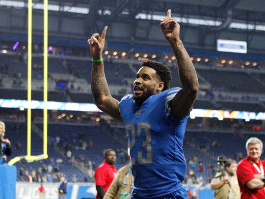 Dec 31, 2017; Detroit, MI, USA; Detroit Lions cornerback Darius Slay (23) runs off the field with his arms up after the game against the Green Bay Packers at Ford Field. Mandatory Credit: Raj Mehta-USA TODAY Sports