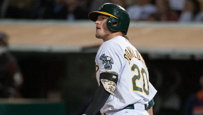 Josh Donaldson watches the ball after hitting a game winning three run home run against the Tigers during the ninth inning at O.co Coliseum.