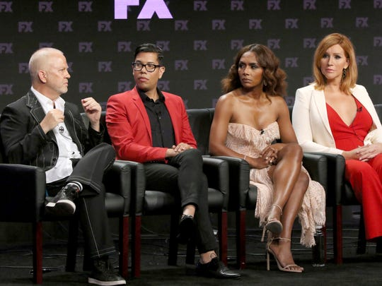 "Ryan Murphy, Steven Canals, co-creator/co-executive producer/writer, producer/writer/director Janet Mock and producer/writer Our Lady J participate in a panel for ""Pose"" during the FX Television Critics Association Summer Press Tour."