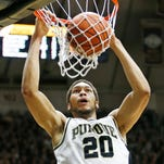 A.J. Hammons with second half dunk against Nebraska Saturday, January 30, 2016, at Mackey Arena. Purdue defeated Nebraska 89-74.