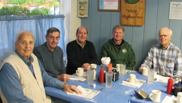 A group of community members met weekly from 1989 to 1996 at Al's Diner in Stevens Point to plan and develop the Green Circle Trail around the Stevens Point urban area. Gathering in 2009 to recount the early days were (from left) Roy Menzel, Jerry Ernst, Tom Schrader, John Jury and George Rogers.
