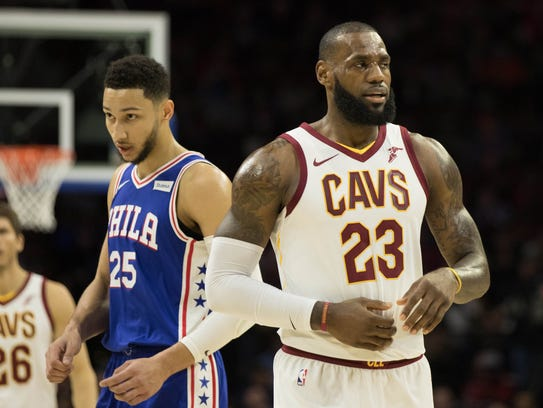 Philadelphia 76ers guard Ben Simmons (25) and Cleveland