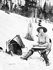 """Out where the West begins — snow banks — pine stumps and me."" Lucile Van Slyck was a pioneering painter in Glacier National Park in April, 1929. She's part of a new exhibition at the Hockaday Museum of Art in Kalispell."