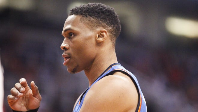 Oklahoma City guard Russell Westbrook (0) prepares to inbound the ball in the first quarter against the Phoenix Suns at Talking Stick Resort Arena in Phoenix on Friday, April 7, 2017.