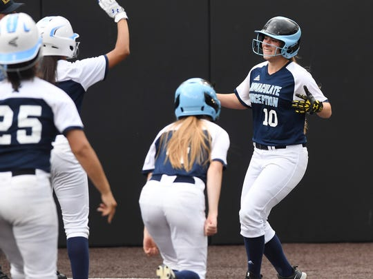 Immaculate Conception vs. Robbinsville in the Tournament of Champions semifinals at Seton Hall University on Wednesday, June 6, 2018. IC #10 Jaden Farhat scores on an error after driving in three runs.