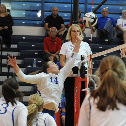 Southeastern's Skylar Hice tips the ball over the net