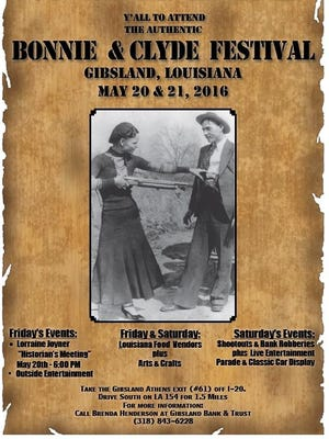 Bonnie & Clyde Festival is Friday-Saturday in Gibsland.