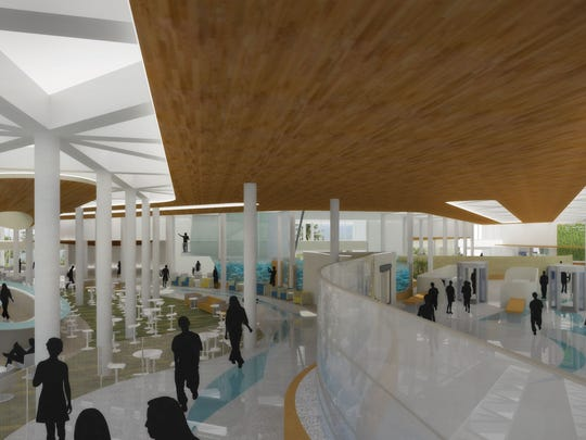 A digital rendering shows a proposed design for the new terminal at Melbourne International Airport.