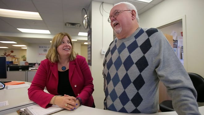 Board of Elections Commissioners Kristen Zebrowski-Stavisky and Louis Babcock talks about how busy they will be on election day at the Rockland County Board of Elections in New City on Nov. 7, 2016.