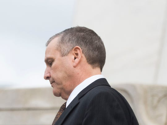Former Pilot Flying J Vice President Scott Wombold exits the federal courthouse in Chattanooga on Feb. 15, 2018. Wombold was sentenced to six years in prison for his role in the company's fraud plot.