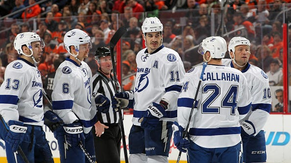 Former Rangers, from left, Anton Stralman, Brian Boyle and Ryan Callahan will meet their former team in the Eastern Conference final starting Saturday at Madison Square Garden.