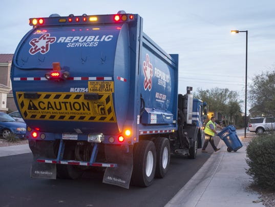 Republic Services Picks Up Recycling In A Northwest Las Vegas Neighborhood On Thursday Oct