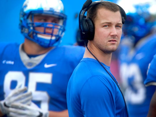 MTSU's injured quarterback Brent Stockstill on the sidelines during the game against FIU, on Saturday, Oct. 7, 2017, at MTSU.