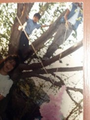 The giant tree at Grandma's blue adobe house on the