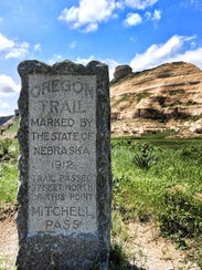 This stone marker shows the route of the Oregon Trail