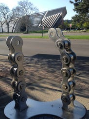 This is a bike rack facing the Eli and Edythe Broad