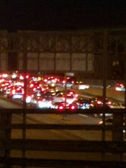 Traffic in Perth Amboy heading to the Outerbridge Crossing.