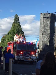 The fire truck arrives at the Mt. Angel National Night