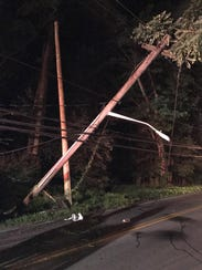A box truck snapped a utility pole on Old Nyack Turnpike