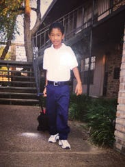 An undated image shows a 10-year-old Alex Ortiz heading
