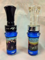 Samples are shown of two duck calls crafted by Betts